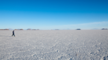 A man is seen walking on the salt lakes of Bolivia. - Photo: Shutterstock